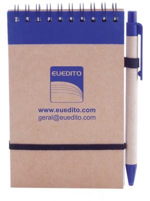 Bloco de notas personalizado a uma cor com caneta (50 unidades)